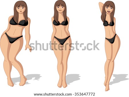 Fat and slim woman figure. Woman before and after weight loss. - stock vector