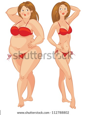 Fat and thin woman, vector illustration - stock vector