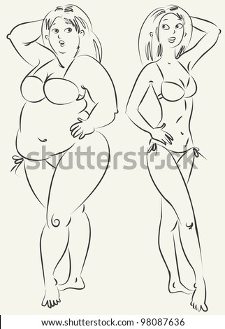 stock-vector-fat-and-thin-woman-vector-i