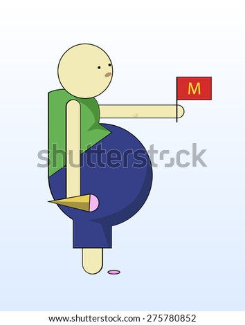 Fat boy hold ice cream and red flag. Vector illustration. - stock vector