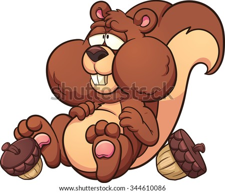 Fat cartoon squirrel. Vector clip art illustration with simple gradients. Squirrel an acorns on separate layers. - stock vector