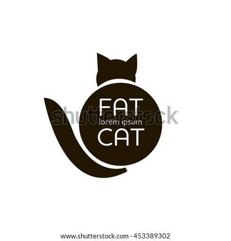 fat cat outline simple logo vector stock vector 453389302