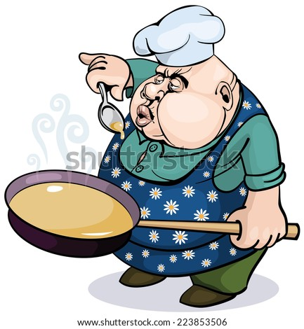 Fat cook with a pan. Eps8 CMYK Global colors Gradients free - stock vector