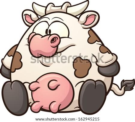 fat cow clip art vector cartoon stock vector 162945215 shutterstock rh shutterstock com clip art cowboy hat clipart cow skull drawings