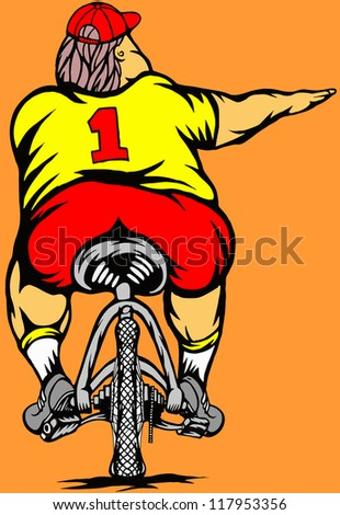 Fat cyclist - stock vector