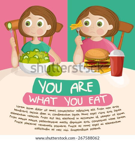 fat girl eating fast food and beautiful slim girl eating salad and apple diet concept - stock vector