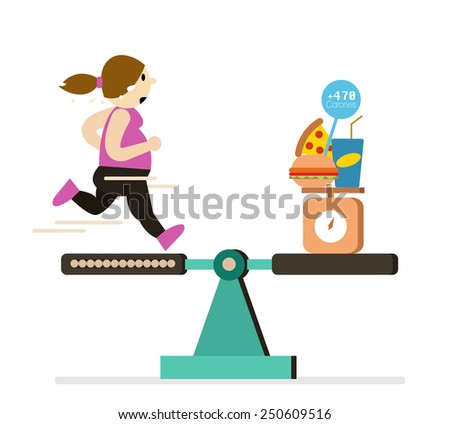 Fat girl running balance with food are over calories. flat design element. Vector illustration. - stock vector