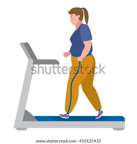 Fat girl running on treadmill on white. Keep fit and healthy. Motivational. Training activity. Flat design character. Workout motivation and inspiration.  - stock vector