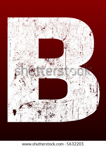 Fat Grunged Letters - B (Highly detailed grunge letter) - stock vector