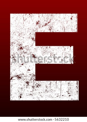 Fat Grunged Letters - E (Highly detailed grunge letter) - stock vector