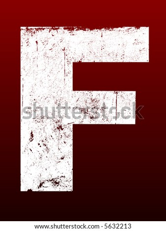 Fat Grunged Letters - F (Highly detailed grunge letter) - stock vector