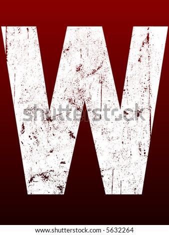 Fat Grunged Letters - W (Highly detailed grunge letter) - stock vector