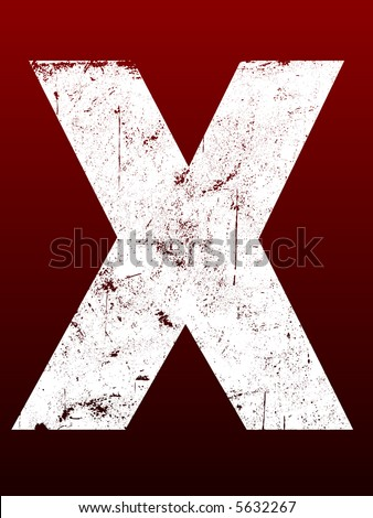 Fat Grunged Letters - X (Highly detailed grunge letter) - stock vector