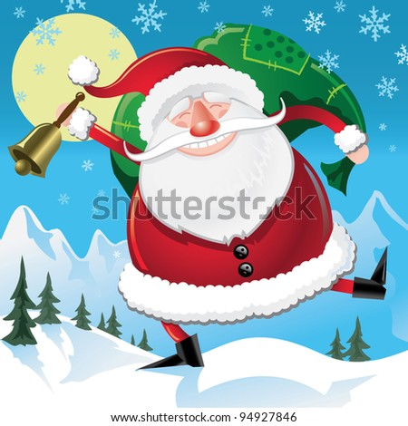 Fat Happy Santa - stock vector