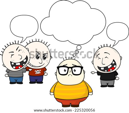 fat kid and bullies with blank balloon text isolated on white background - stock vector