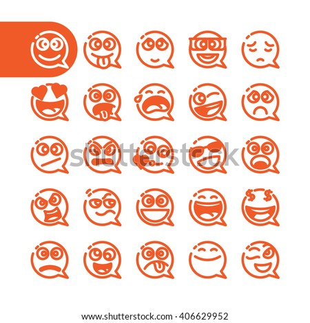 Fat Line emoji Icon Set of speech bubble emoticons for web and mobile. Modern minimalistic flat design elements of emoji on white background, vector illustration. - stock vector