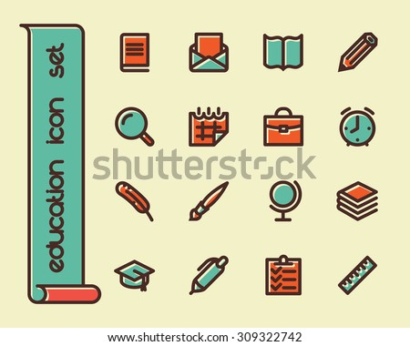 Fat Line Icon set for web and mobile. Modern minimalistic flat design elements of learning and education, school supplies - stock vector