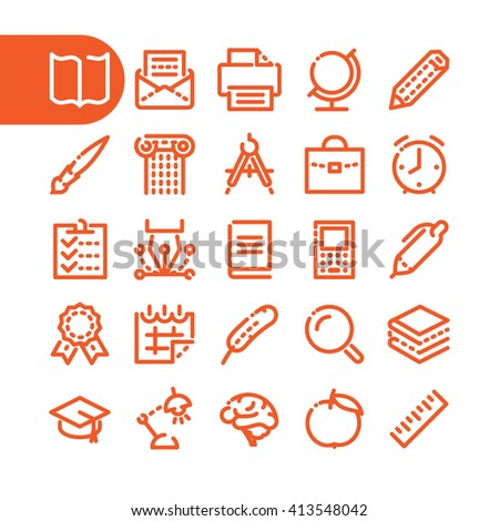 Fat Line Icon set of education, learning and school for web and mobile. Modern minimalistic flat design elements of learning and education, school supplies - stock vector