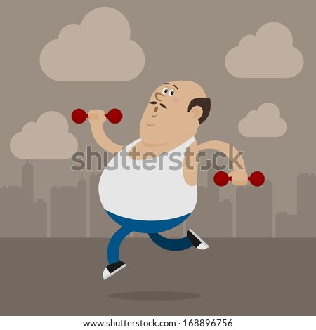 Fat man goes in for sports - stock vector