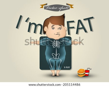 fat man vector - stock vector