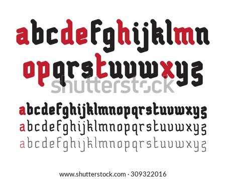 Fat Rounded Line Gothic Style Font - stock vector