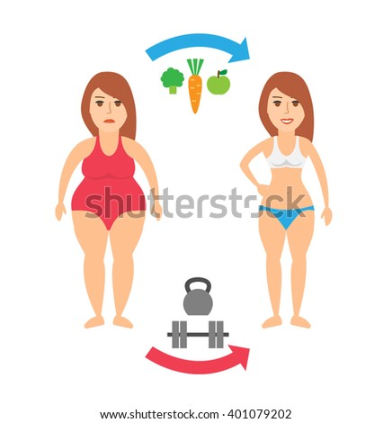 fat to fit woman body transformation concept illustration. weight loss healthy food nutrition diet and sport training before and  after isolated on white background - stock vector