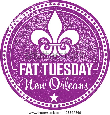 Fat Tuesday Mardi Gras Stamp - stock vector