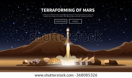 Fat vector web banner on the theme of astronomy, space exploration, colonization of Mars. Space adventure. The first colonies. Terraforming. Modern flat design. - stock vector