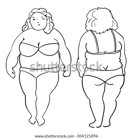 fat woman. plus size. vector illustration, sketch. Obese. woman in bikini. - stock vector