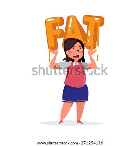 fat women carry on fat typographic. typography design - vector illustration - stock vector