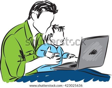 father and baby with a laptop computer illustration