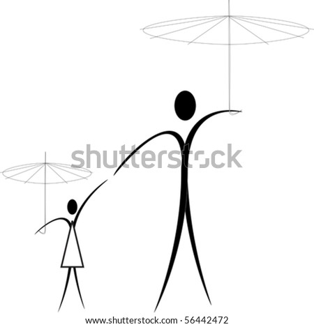 father and daughter under umbrellas for a walk