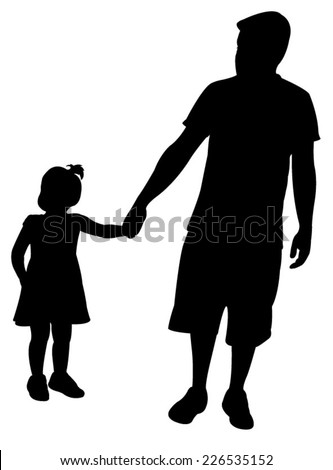 father and daughter walking silhouette vector