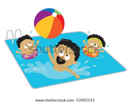Father and kids playing in a pool (African American) - stock vector