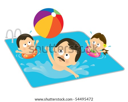 Father and kids playing in a pool (Hispanic) - stock vector