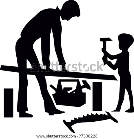 father and son are working with tools - stock vector