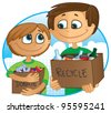 Father and son having fun recycling and donating old toys and clothes to charity - stock vector