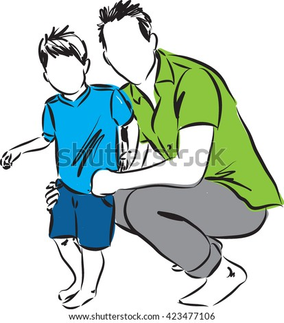 FATHER AND SON ILLUSTRATION - stock vector