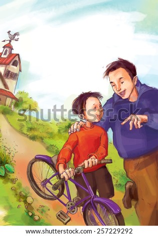 Father and Son on summer landscape. Summer Activities. Children illustration for School books, advertising, magazines and more. Separate Objects. VECTOR. - stock vector
