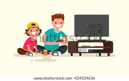 Father and son playing video games on a game console. Vector illustration of a modern flat design - stock vector