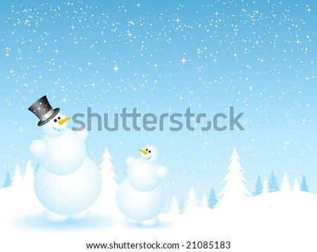 father and son snowmen