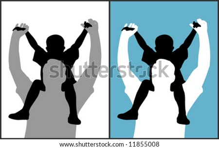 Father and son (vector) - stock vector