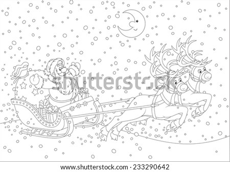 Father Christmas with a big bag of gifts flying in his sleigh - stock vector