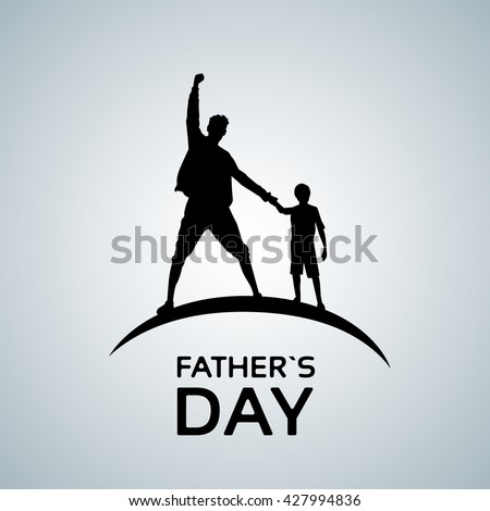 Father Day Holiday, Silhouette Son Dad Hold Hands Up Flat Vector Illustration