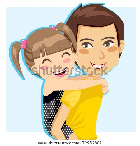 Father giving his little girl piggyback ride smiling - stock vector