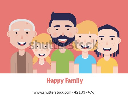 Father, mother, granddad, son and daughter portrait with banner. Happy family. - stock vector