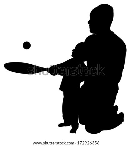father playing teaching to play tennis to his son  - stock vector