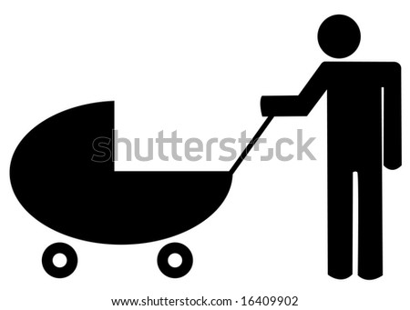 father pushing baby buggy or stroller - illustration - stock vector