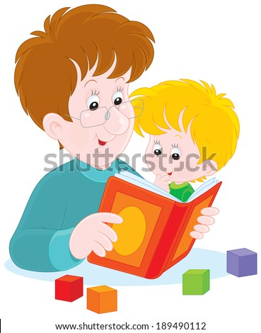 Father reads a book to his little son - stock vector