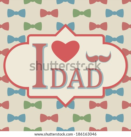 Father's Day, Bow Tie and Moustache Seamless Pattern